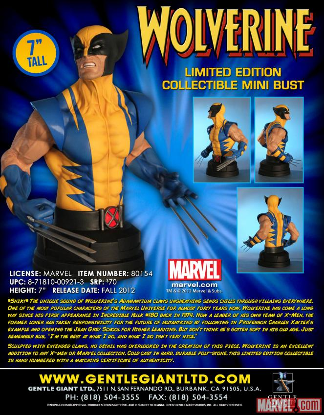 Gentle Giant set to release 7″ Wolverine bust