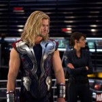 Chris Hemsworth and Cobie Smulders as Thor and Maria Hill in The Avengers